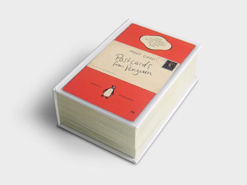 In the selection are some of the very first Penguin covers with their broad